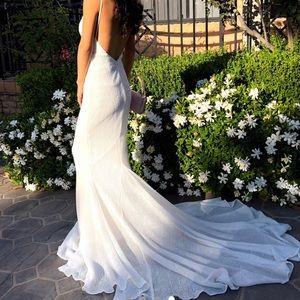 White sequence formal/wedding dress